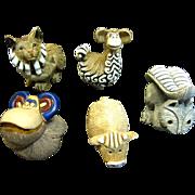 Group of 5 Vintage Artesania Rinconada Hand Made Ceramic Animals