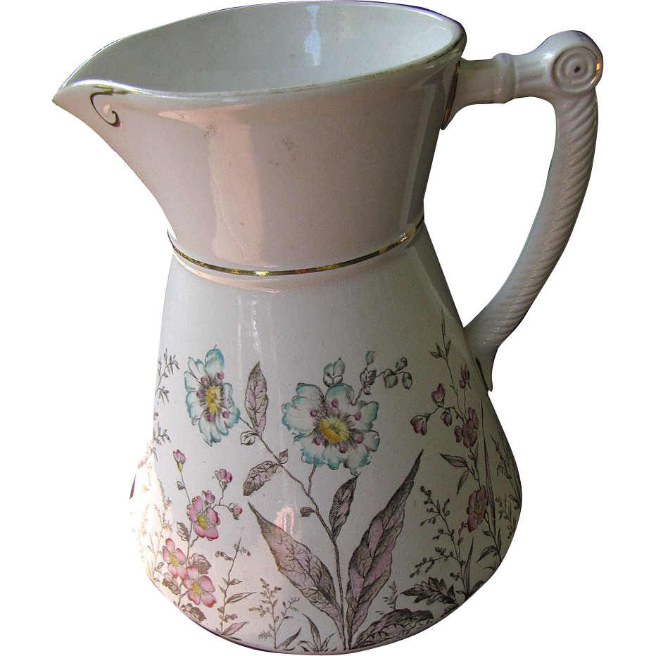 Beautiful Victorian Wash Pitcher with Floral Decoration