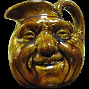 Fun Folk Art Face Small Pottery Pitcher