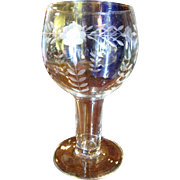 Nice Etched Glass Goblet Form Vase or Votive Holder