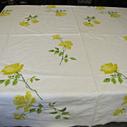 "Yellow Rose 64"" Vintage Tablecloth, Retro Heaven!"