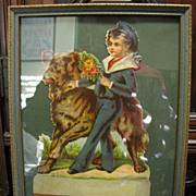 Victorian Die Cut Framed Picture of Boy with Bouquet, Dog!