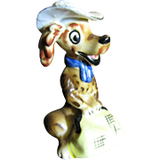 1950's Laughing Dog with Valise & Hat Figurine