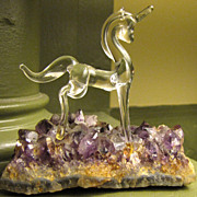 Hand Made Glass Unicorn on Amethyst Geode