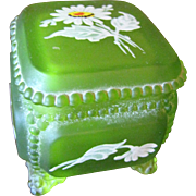 Westmoreland Satin Glass Beaded Painted Trinket Box