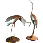 Pair of Cast Brass Crane Sculptures, Retro Elegant