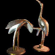 Pair of Cast Brass Crane Sculptures, Retro Elegant