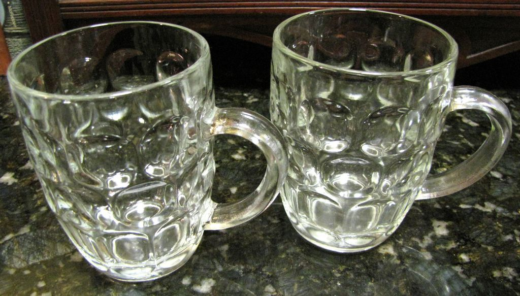 pair of vintage glass dimple beer mugs one english pint