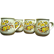 Four Lovely 1960's Floral Transfer Mugs