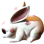 1960's Enesco Ceramic Rabbit Figurine Cotton Ball Dispenser