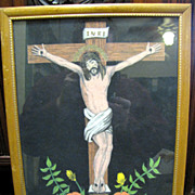 Hand Painted Mexican Felt Picture of the Crucifixion
