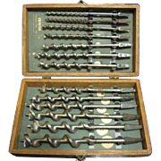 Vintage Irwin Auger Drill Bit Set w/ Original Wooden Box