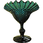 Super Teal Pressed Glass Ruffle Edge Candy Dish, Great Color!