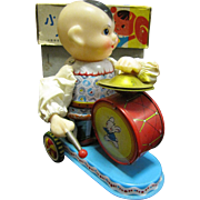 Cute Vintage Chinese Wind Up Toy, Boy with Drum!