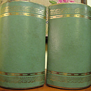 Circa 1960's Green Gilt Leatherette Bookends