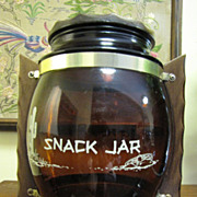 70's Glass Siesta Ware Snack Jar, Wooden Lid & Handles!