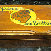 1940's Cedar Wood Pin & Button Box by J B Deere