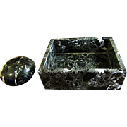 Elegant Japanese Marble Desk Box & Paperweight