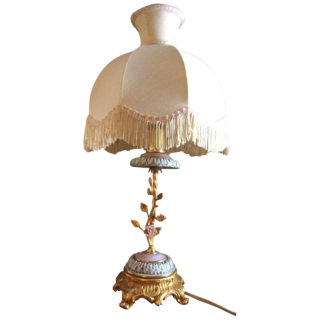 Italian FBAI Florentine Boudoir Lamp, Exquisite Gilt Bronze, Pink Porcelain Flowers!