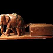 Elephant Cigarette Box, Carved Wood from Sri Lanka