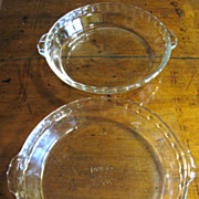 "Pair 9 1/2"" Pyrex Deep Pie Dishes, Fluted Rims with Handles"