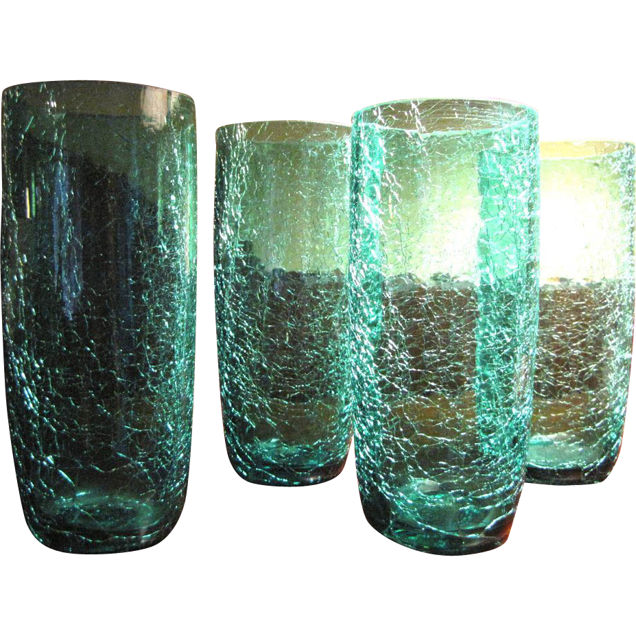 4 vintage turquoise crackle glass tumblers  summer cool