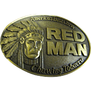 Vintage Red Man Belt Buckle America's Best Chew Chewing Tobacco