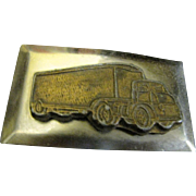 Vintage 1950's Mac / Semi Truck Freight Trailer Belt Buckle
