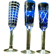 3 Cobalt Cut to Clear Wine Flutes, Beautiful!
