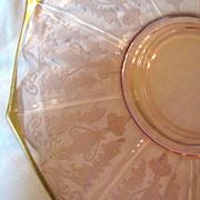 Pink Cambridge Glass Decagon Gilt Serving Platter, Bird of Paradise Etch!