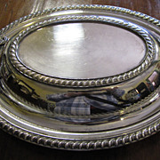 Sturdy Silver on Copper Lidded Serving Dish, some issues