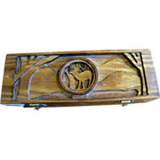 Wood Darts Box with Deer Design, Hand Made, Nice!