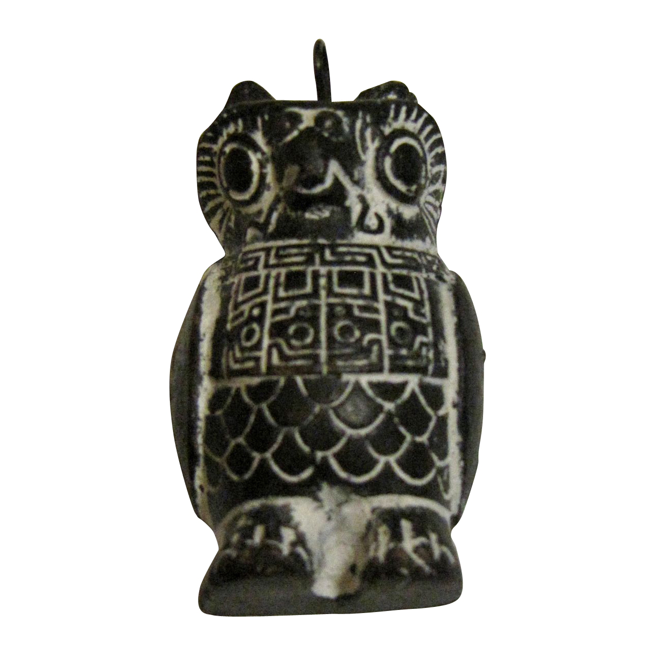 Inca owl pendant of hand carved soap stone from rubylane