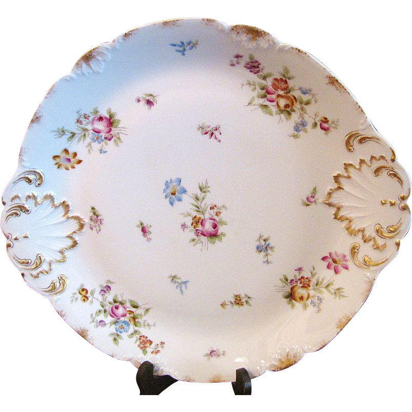 "Huge 14"" Antique CFH GDM Limoges Hand Painted Gilt Charger"