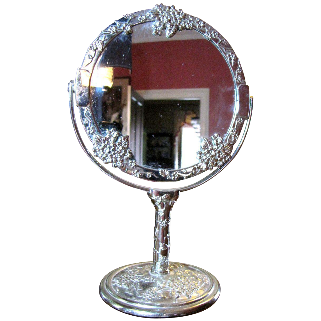 sweet two sided silver plated vanity mirror from faywrayantiques on ruby lane. Black Bedroom Furniture Sets. Home Design Ideas