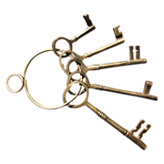 Set of Five Brass Decorator Skeleton Keys on a Brass Key Ring