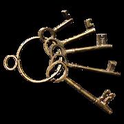 Set of Five Brass Decorator Skeleton Keys on a Brass Key Ring