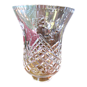 Huge Lead crystal Hurricane Shade, Floral Pattern