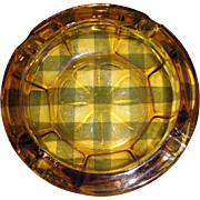 Large Mid Century Amber Glass Cigar Cigarette Ashtray