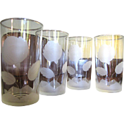 4 Etched Glass Rose Tumblers by Anchor Hocking