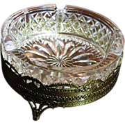 Gold Filigree Lead Crystal Ashtray, Circa 1950's