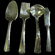 4 Misc. Vintage Silver Plated Servers, Cake Slice, Meat Fork, Sauce Spoon & Butter Knife (No 2)