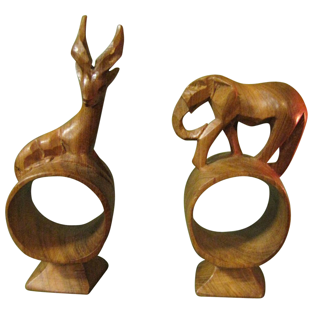 Vintage carved wooden napkin rings african animals from