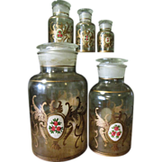 Rare Set of Hand Blown, Hand Painted Glass Apothecary Jars