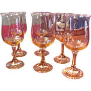 6 Lovely Peach Pink Wine Glasses, Really Pretty!