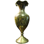 Indian Engraved Brass Vase with Ruffle Rim