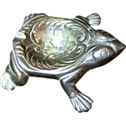Old Cast Gilt Bronze Frog Ash or Trinket Tray