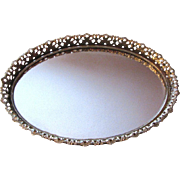 Lovely Large Gilt Filigree Wall or Vanity Mirrored Tray