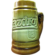 Pottery Beer Stein by KZ Bechyne Pottery for Prazdroj of Czechoslovakia
