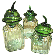 """3 Blown Glass Canisters with """"Pepper"""" Blown Glass Lids"""